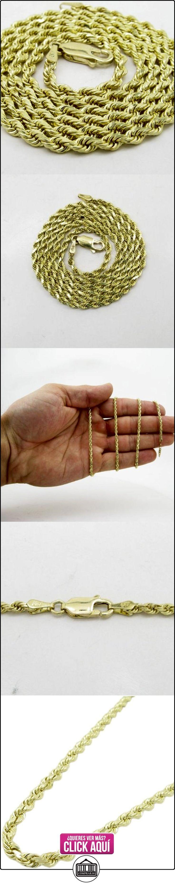 Para hombre 10 K Amarillo de pelo fino de cadena cuerda ELNC32 55,88 cm de largo y 3 mm de ancho  ✿ Joyas para hombres especiales - lujo ✿ ▬► Ver oferta: https://comprar.io/goto/B00GRAJ84Q