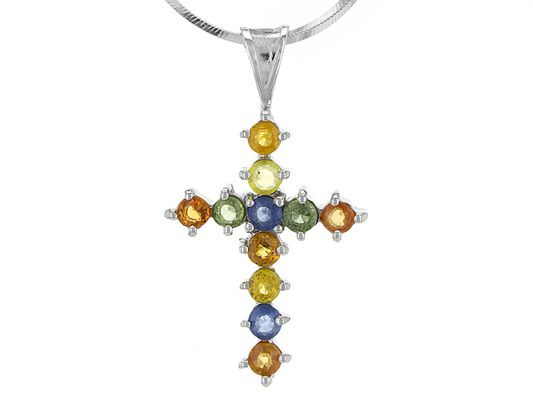 1.76ctw Round Multi-sapphire Sterling Silver Cross Pendant With Chain