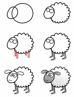 cute sheep. The steps are simple to follow. Ask children to draw the sheep on Aquadoodle Paw Patrol Chase on the Case Mat from shop.childscastle.com...