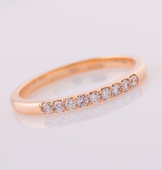 9 anillo de diamante, banda de diamantes oro rosa de 14K, 2 mm banda de diamantes, anillo de aniversario, boda banda de diamante, anillo Pave, comparten terminales anillo