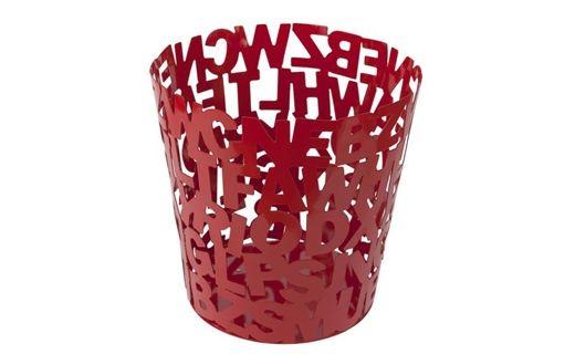 """Papelero """"ABC"""" metalico rojo, altura 25 cms. diametro superior 25 cms. ideal para tus espacios de trabajo, dale  un toque de #diseño"""