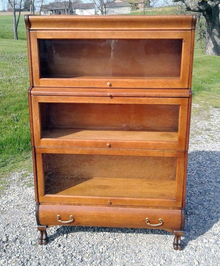 Details about VTG 3 Stack Tiger Oak Hale Barrister Stepback Claw Feet  Bookcase w Writing Board