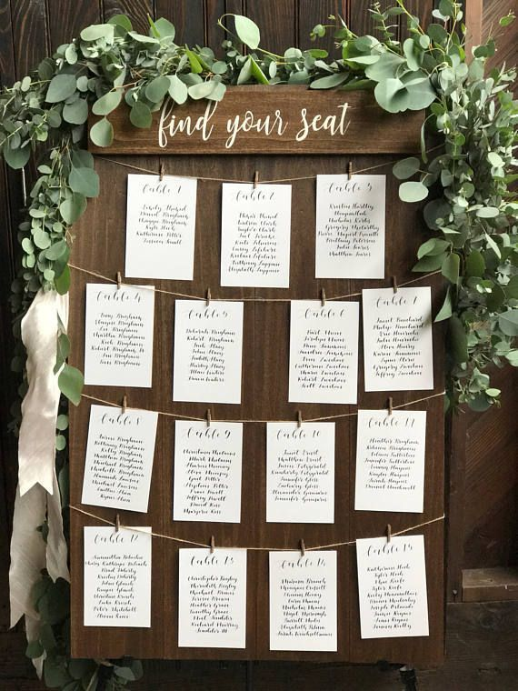 20 Table Find Your Seat Seating Chart Board Rustic Seating