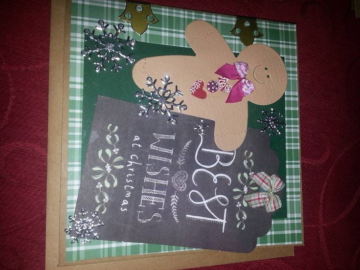 die cut gingerbread man on chalkboard paper and peel offs make this card