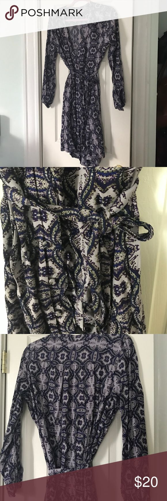 Charlie Jade purple print shirt dress Waistband tie is removable. Fabric covered buttons. Technically this is a swim coverup but then material is on the thicker side. I purchased to wear as a dress and never used it charlie jade Dresses Maxi