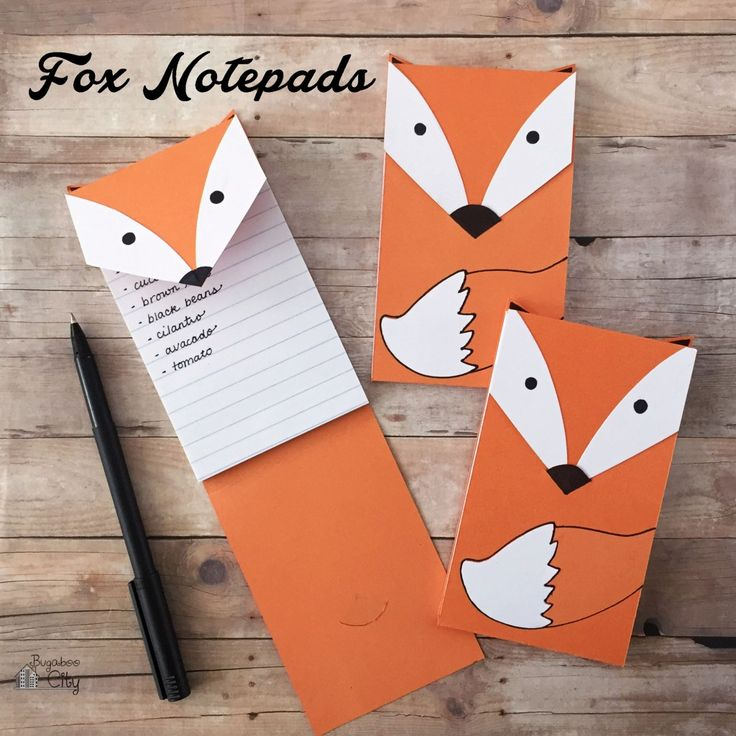 DIY Fox Notepad - used these as prizes and favors at our Woodland Themed Birthday Party!