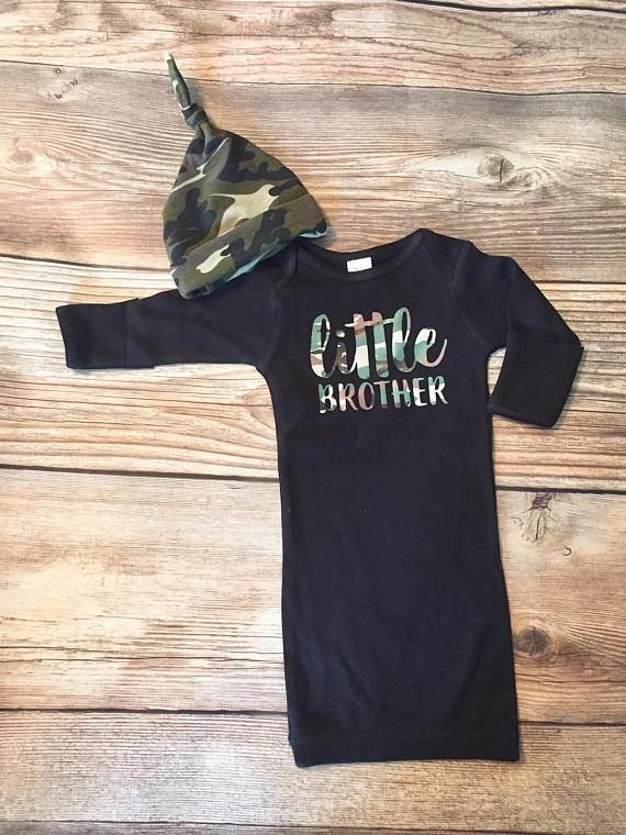 Little Brother Gown and Hat, Newborn, Baby gown, coming home outfit, going home outfit