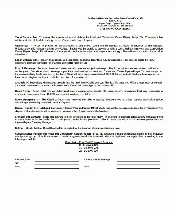 Contract For Catering Services Template In 2020 Contract