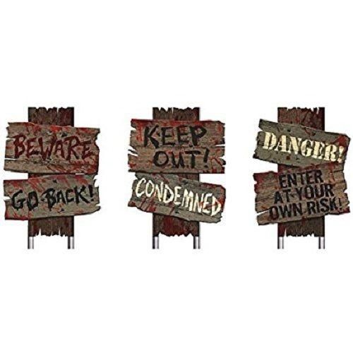 Halloween Signs Scary Lawn Decoration 3 Pk Yard Haunted