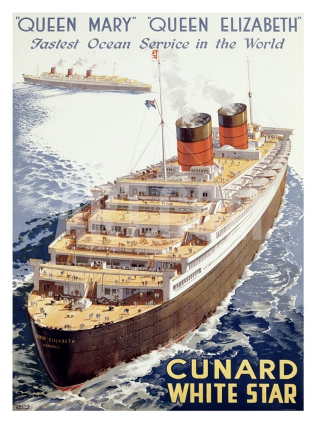 Cunard Line, Queen Elizabeth, Queen Mary Giclee Print by Walter Thomas at Art.co.uk
