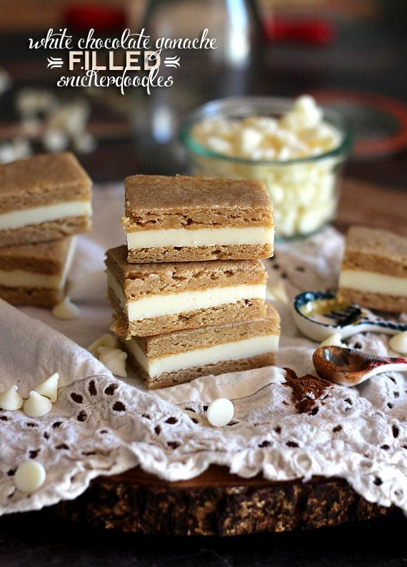 White Chocolate Ganache Filled Brown Sugar Snickerdoodle Bars | Cookies and Cups #dessert #bars #snickerdoodle