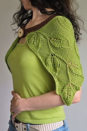 daintyloops:    Forest Nymph - luxurious handknit leafy capelet in spring green / natural fibres / eco-style (by eveldasneverland)