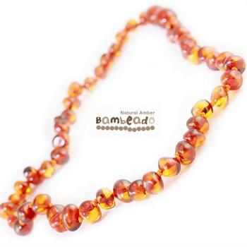 This may be an alternative to assist with aches and pains,eczema and arthritis. Adults can enjoy wearing baltic amber with this 45 cm long bud amber necklace in Cognac colour beads. Match your baby with their Baby bud necklace! Extra lengths are available in 50cm and 55cm.     While Bambeado amber comes in several colours, the colour is just a matter of personal choice.