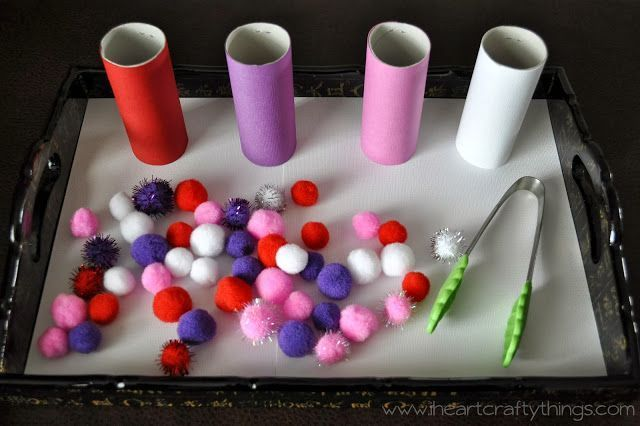 Valentines Day pom-pom sorting. Simple to create and great fine-motor fun for kiddos!