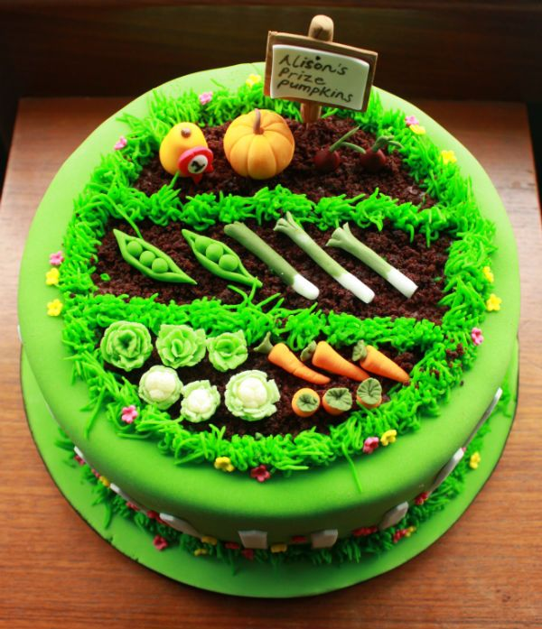 Vegetable Patch Cake From Top