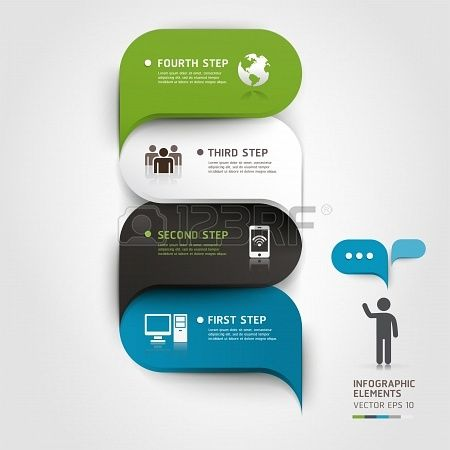 Modern infographics bubble speech template style  Vector illustration  can be used for workflow layout, diagram, number options, step up options, web design, banner template  Stock Photo - 19187708
