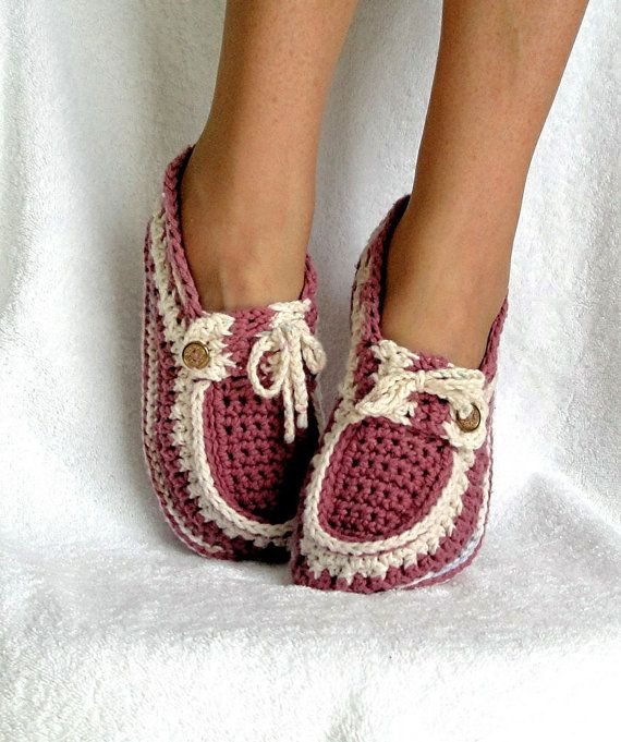 Slippers Crochet Pattern  Adult Button Loafers
