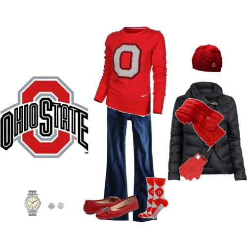 Football Game Outfit! Not a OSU fan but the colors are perfect for a Spartan football outfit.