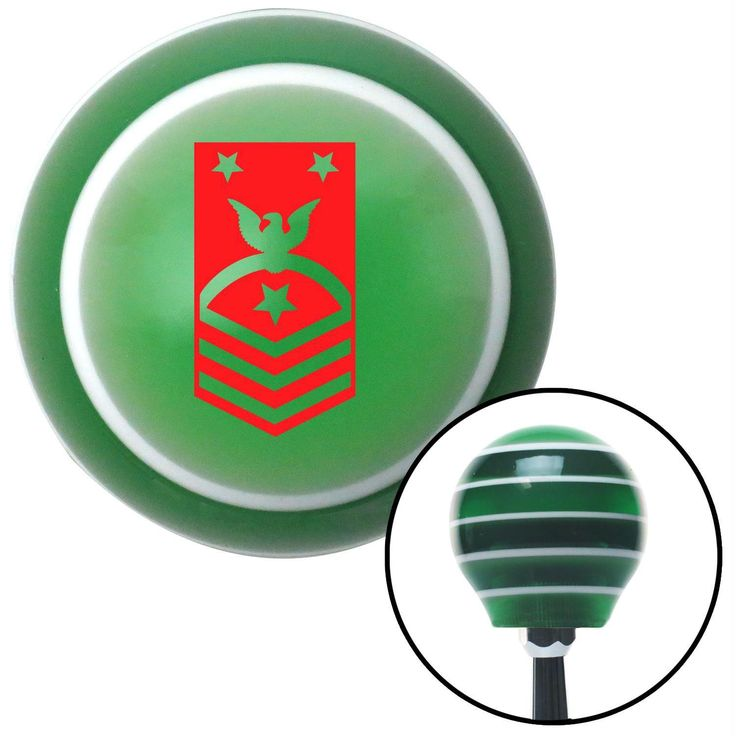 Red Force or Fleet Command Master Chief Petty Officer Green Stripe Shift Knob with M16 x 15 Insert