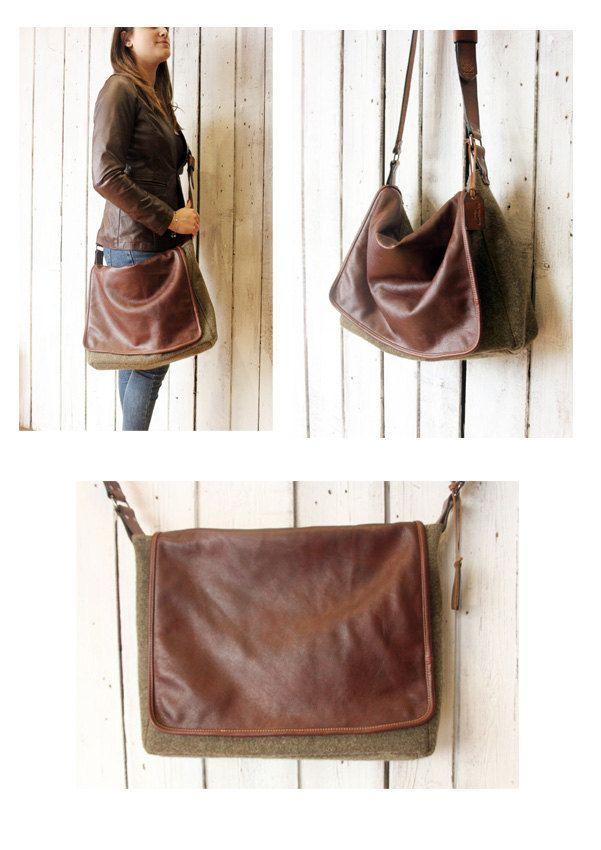 "Handmade Italian Leather&MIlitary PLAID Messenger Bag ""Plaid Messanger "" di…"