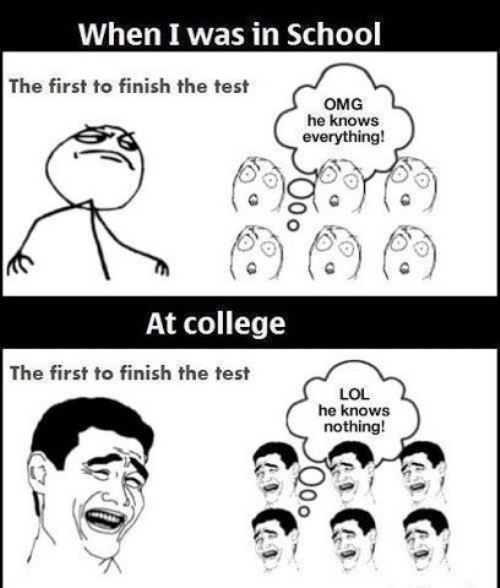 College life, so true! You never want to be the first one finished!
