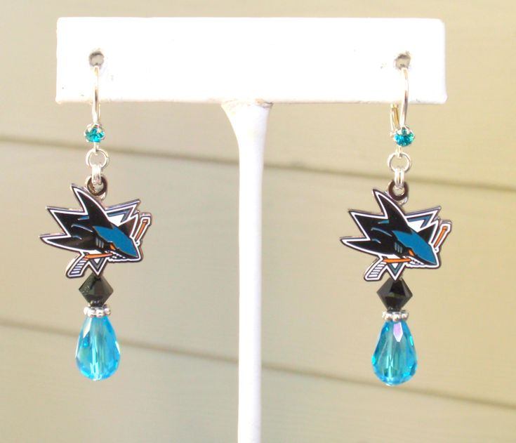 San Jose Sharks Earrings, NHL Sharks Circling the Ice Pro Hockey Black and Teal Crystal Leverback Earrings by scbeachbling on Etsy