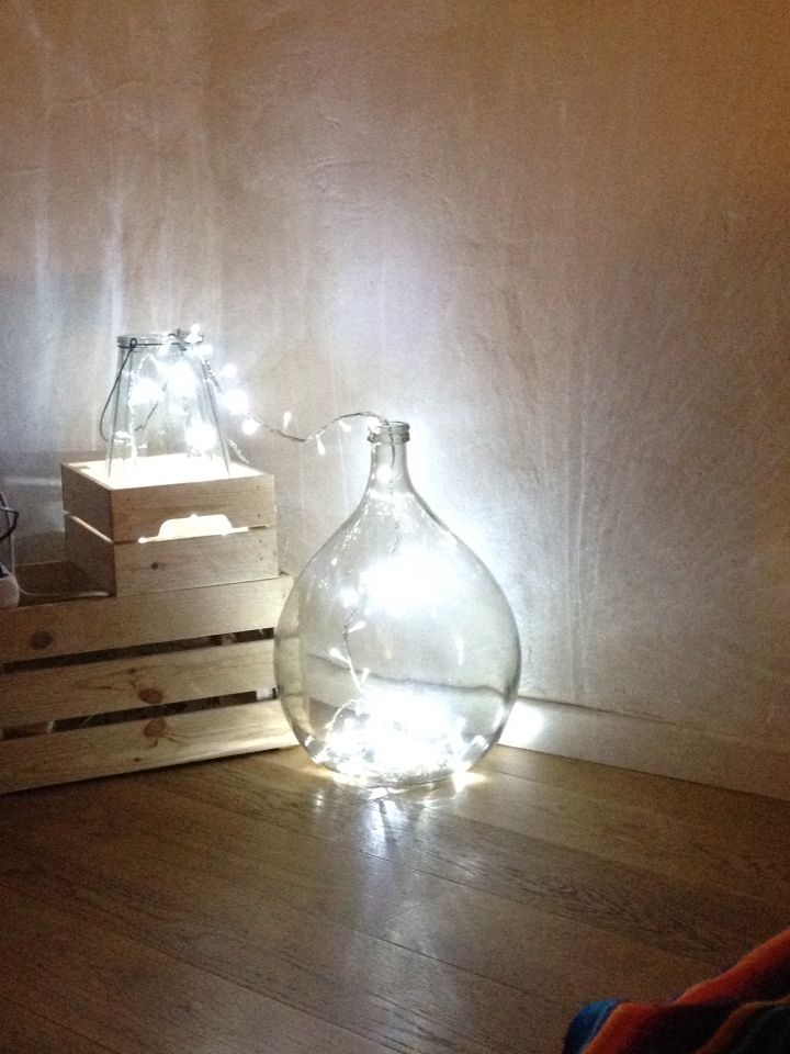 Diy lamp with carboy glasses and wodden box ✨✨✨ lampada fai da te con damigiana e cassette di legno