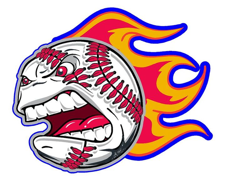 Left screaming baseball with flames helmet decal