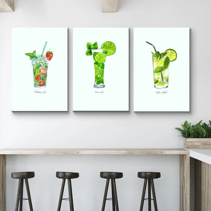 Set of 3 Kitchen Watercolor Paintings Triptic Art Prints by DJR