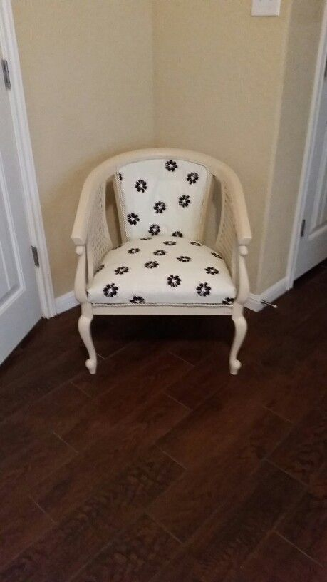 Cane back chair upholstery redo and painted after