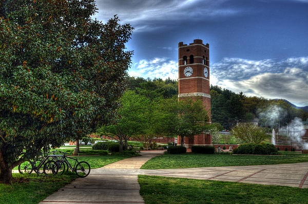 Early morning photograph of Alumni Tower at Western Carolina University in Cullowhee, North Carolina.