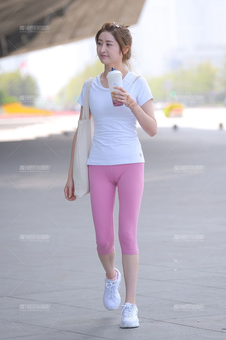 Pure pink tight pants cute girl