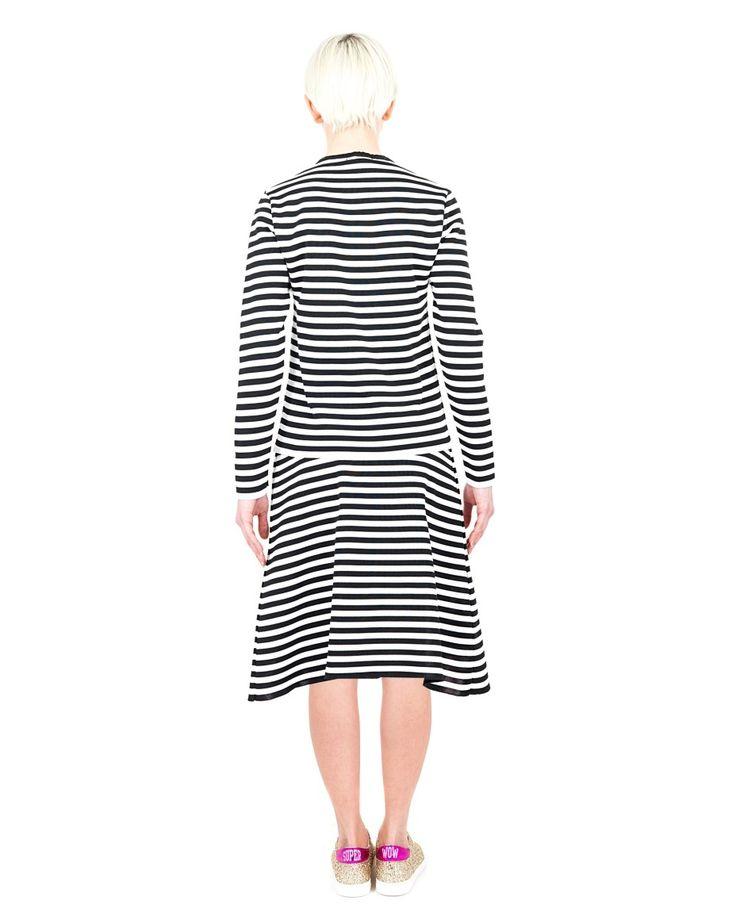 AKEP Striped nylon sweater crew-neck long sleeves  white and black variant 100% NY