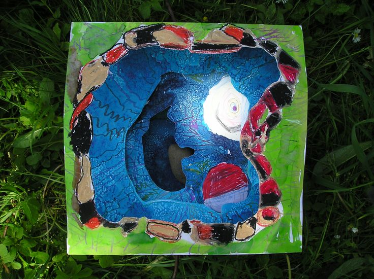 Tunnel book by Václav - brilliant water colours, salt and oil pastels