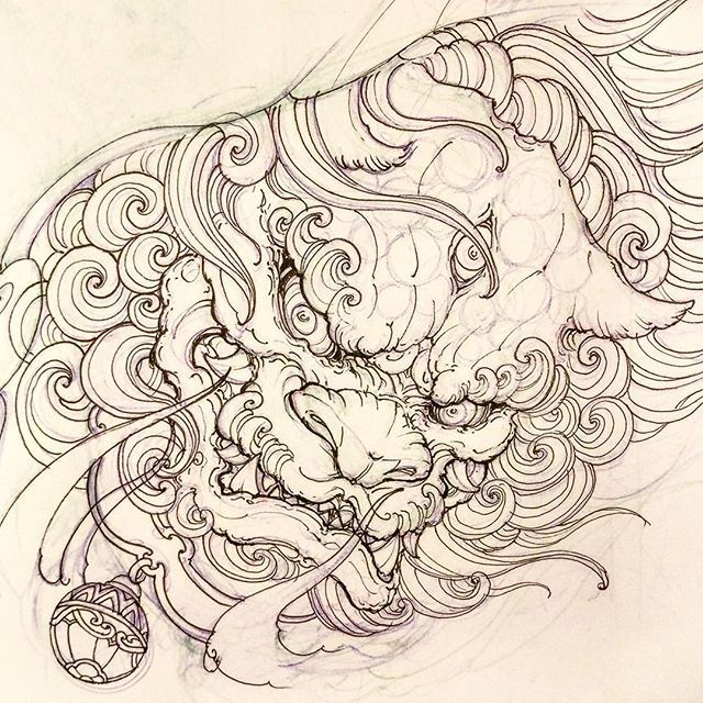 Foodog for today. #sketch #illustration #drawing #irezumi #tattoo #asiantattoo #asianink #chronicink
