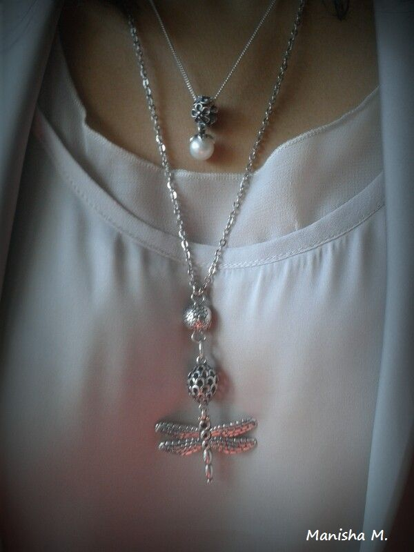 PANDORA Pearl and Dragonfly Necklaces.