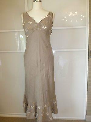 120% LINO Khaki Green Linen Sun Dress 100% Linen Long Maxi Sun Dress Size UK 8