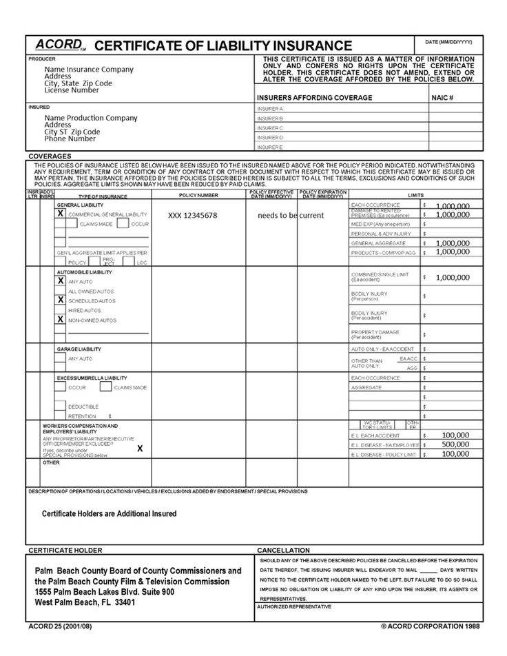Certificate of liability insurance template 4 pertaining
