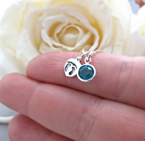 Baby Feet Necklace, New Mom Necklace, Birthstone Jewelry, Birthstone Necklace, December Birthday, Baby Shower Gift, Blue Zircon Birthstone NECKLACE DETAILS 1 .. 8mm Tiny heart with hand stamped baby feet...