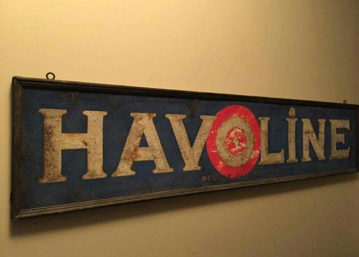 Early Original Havoline Motor Oil Sand-Painted Sign
