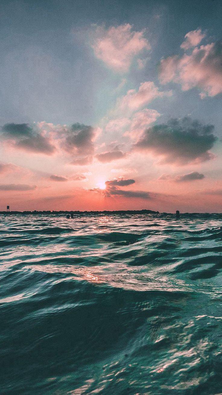 Tumblr iphone wallpaper sky - Sunset Sea Sky Ocean Summer Green Water Nature Iphone 6 Plus Wallpaper