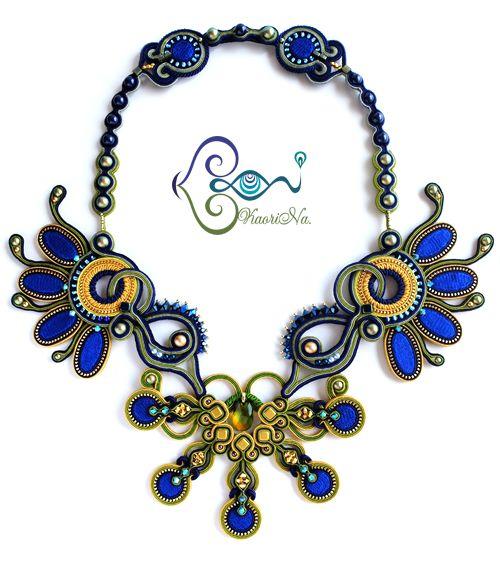 """Peacock"" BeadDreams 2015 - ソウタシエ・ネックレス Soutache Necklace by KaoriNa."