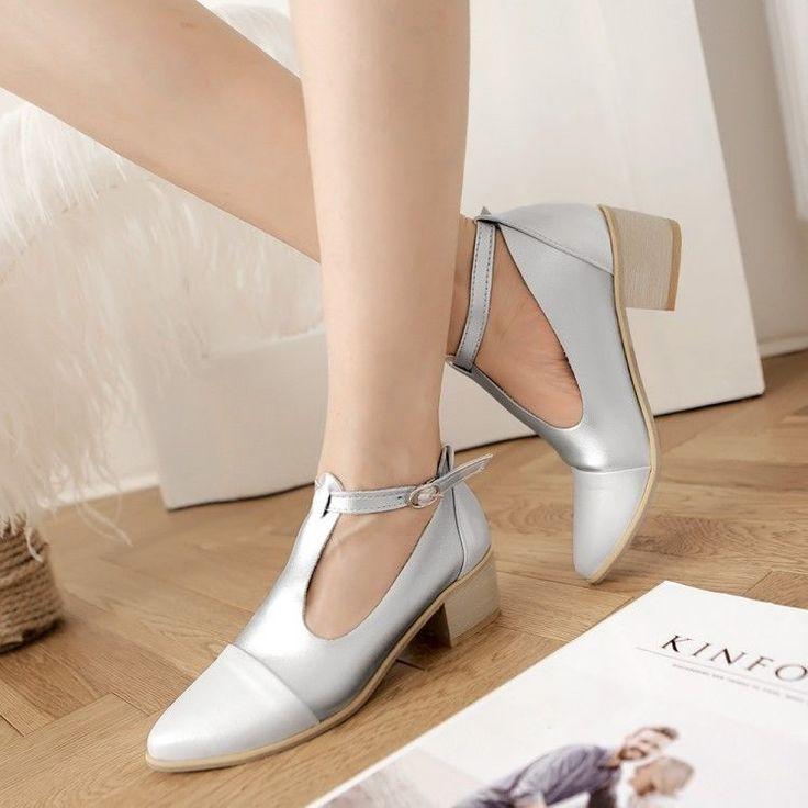 Vintage Womens Pointed Toe Cuban Heel Pumps T-Strap Oxfords Brogue Shoes Plus Sz