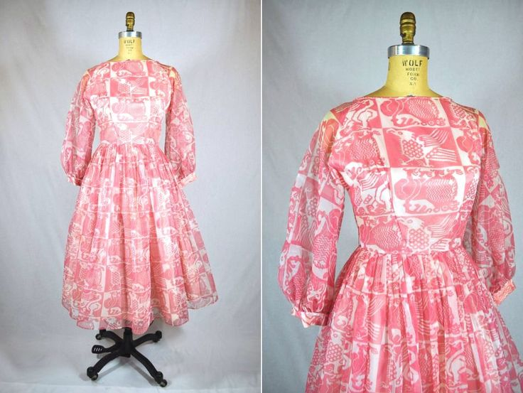 1950s dress vintage 50s pink chiffon novelty animal print party dress S by StorylandVintage on Etsy