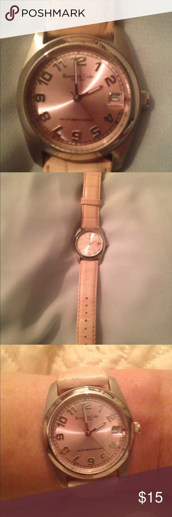 Ladies pink Kenneth Cole Watch Good used condition pink Kenneth Cole watch.  There are no scratches.  The face of the watch looks brand new.  Slight wear on the leather band.  Watch buckles so fits anyone without sizing.  Needs a battery. Kenneth Cole Accessories Watches