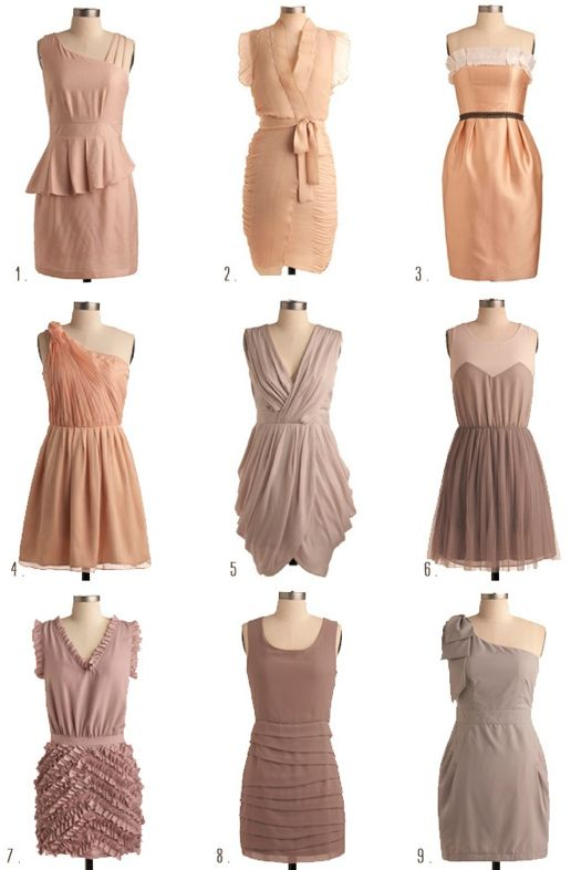 Mauve Peach And Neutral Mismatched Bridesmaids Dresses
