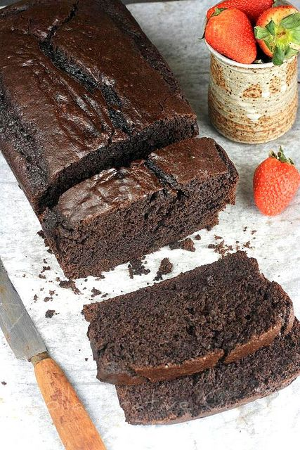 Looks like chocolate pound cake but it's actually a simple chocolate cake in a loaf pan. Only 1/2 cup of sugar! Not too bad!
