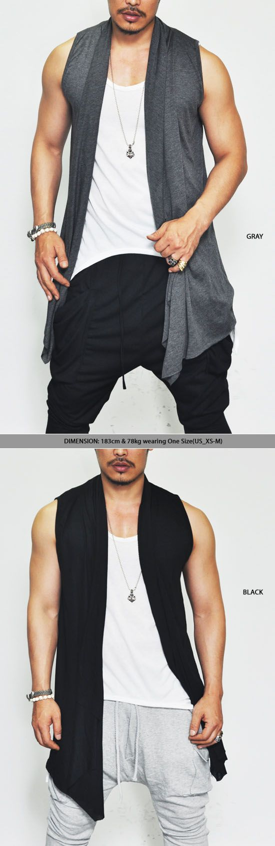 Outerwear :: Vests :: Ruffle Shawl Cutoff Shirring Cardigan Vest-Vest 59 - Mens Fashion Clothing For An Attractive Guy Look