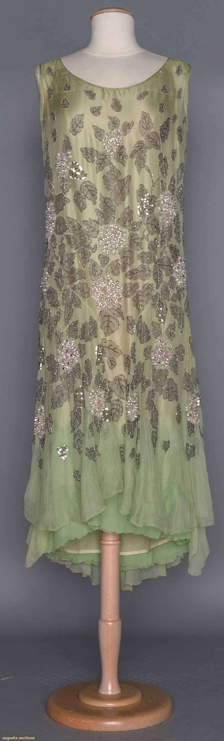 BEADED GREEN EVENING DRESS, 1920s | Pale mint chiffon, floral & leaf embroidery w/ silver sequins & blush pink barrel beads, multi-layered chiffon under dress