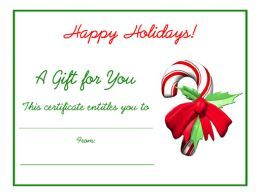 Printable Christmas Gift Certificates | Candy cane Christmas free printable holiday gift certificate blank